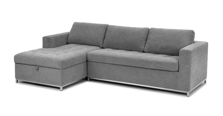 Gray sofa bed left sectional metal legs article soma for Article soma sofa bed