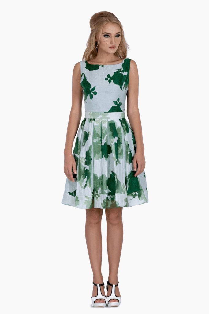 White and Green Floral Dress – Mojau