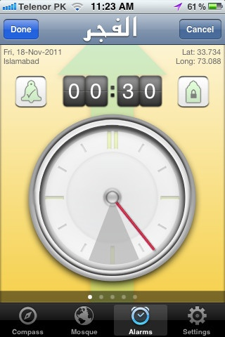 Prayer Alarms (available via In-App purchase):  - Set prayer alarms to remind you of prayer timings  - Set separate alarm for Friday prayers, replacing Zuhr alarm on a Friday  - Set alarms relative to prayer start time, specially useful for Fajr and Maghrib prayers  - Choose the default alarm sound or choose from four custom sounds  - Built-in demo video explains working of Alarms feature in detail