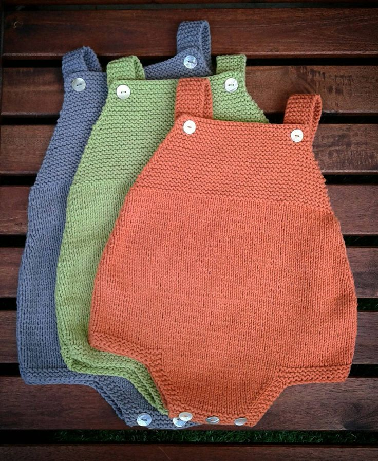 Knitting Pattern for Easy Duoro Baby Romper - Comfortable romper that's perfect for warmer weather. The designer says that this is an easy pattern suitable for beginners. Sizes: 0-3 / 3-6 / 6-12 months