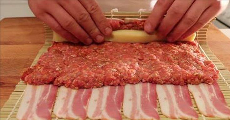 Chcete si pre svojich hostí pripraviť niečo špeciálne? Pozrite sa, čo vznikne ak zrolujete slaninu, mleté mäso a syr.