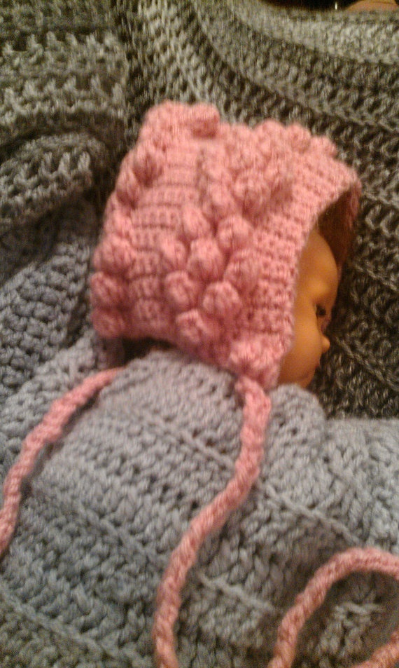 Pink Crochet Newborn Hat with Popcorn Stitches by ConnMor Creations $20.00