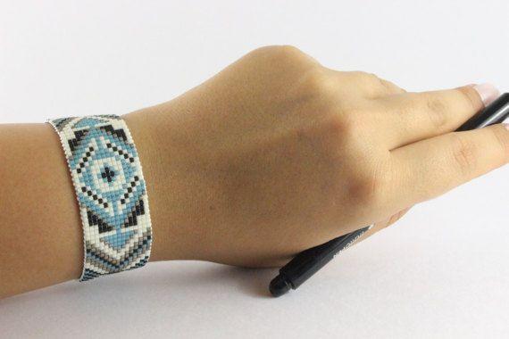 """************************** 100% Handmade *******************************    Mori"" Bracelet | Bead Loom Bracelet with Miyuki Delica Seed Beads | Bracelets For Women | Woven Adjustable Bracelet (Model: Mr021)    This bracelet is Made with high quality 11/0 Miyuki delica beads on nylon thread.    - Adjustable through an extension chain.    Length bracelet: approx. 16-22 cm (with extension chain)  Width bracelet: approx. 2.4 cm…"
