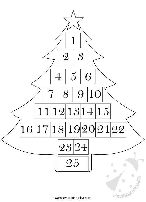 Semplice Calendario dell'Avvento di carta a forma di albero di natale da stampare e colorarare. CALENDARIO DELL'AVVENTO DA RITAGLIARE Lavoretto per Natale