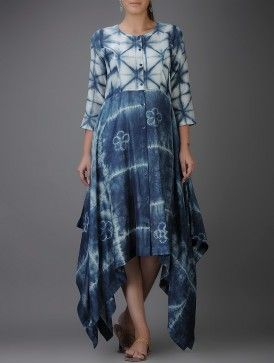 Indigo-Ivory Shibori-dyed Chanderi Dress with Asymmetrical Hem