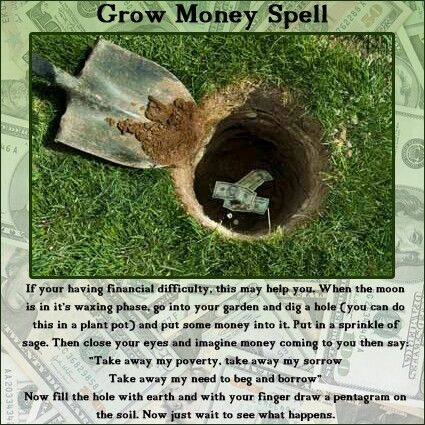 """From Wicca Teachings - Grow money spell. (I don't agree with the """"just wait"""" part. You need to empower your own spells through decisive action!)"""