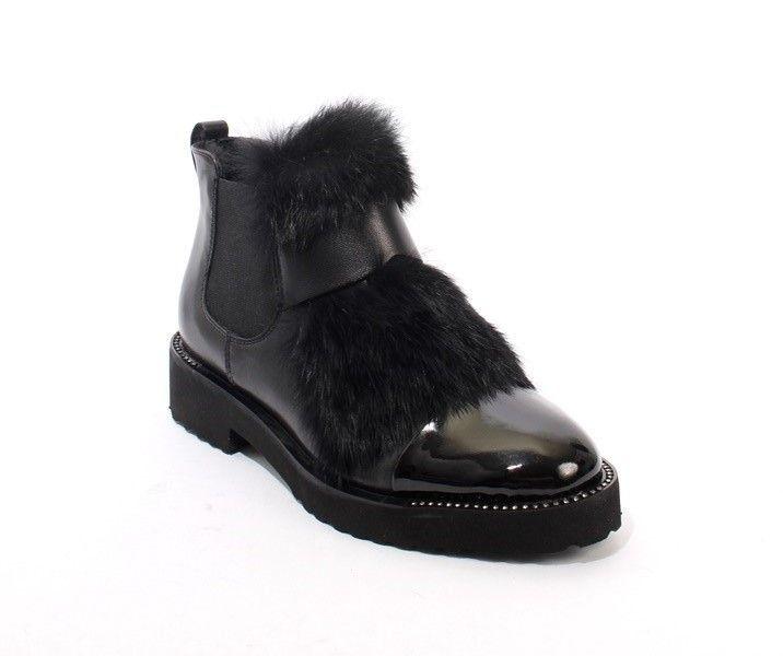 Black Leather / Patent Fur Elastic Sheepskin Boot By Luca Grossi | Mini Centro | New York