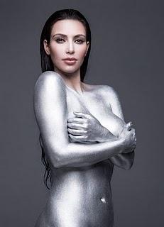 Kim Kardashian Amazing Silver BodyPainting