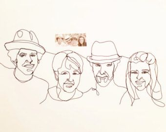 Draad sculptuur - familie portret van vier - kunst aan de muur beeldhouwkunst - Crative jongens draad sculptuur - vier draad portret