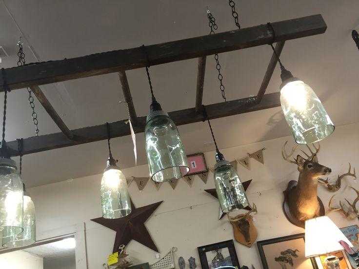 Ladder Light Fixture With Ball Jars Kitchen Lighting