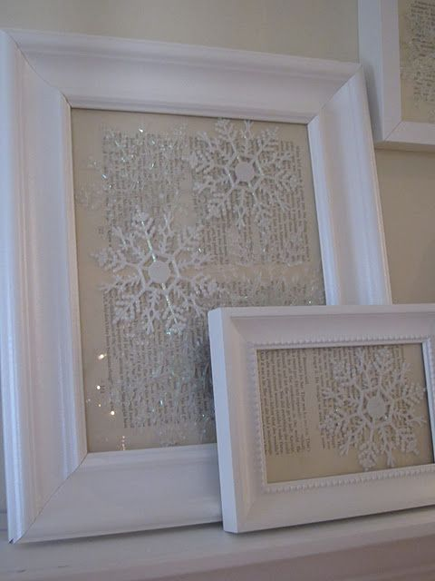 Dollar store snowflake ornaments against vintage paper & framed.  So pretty for January when the rest of the Christmas decorations come down.