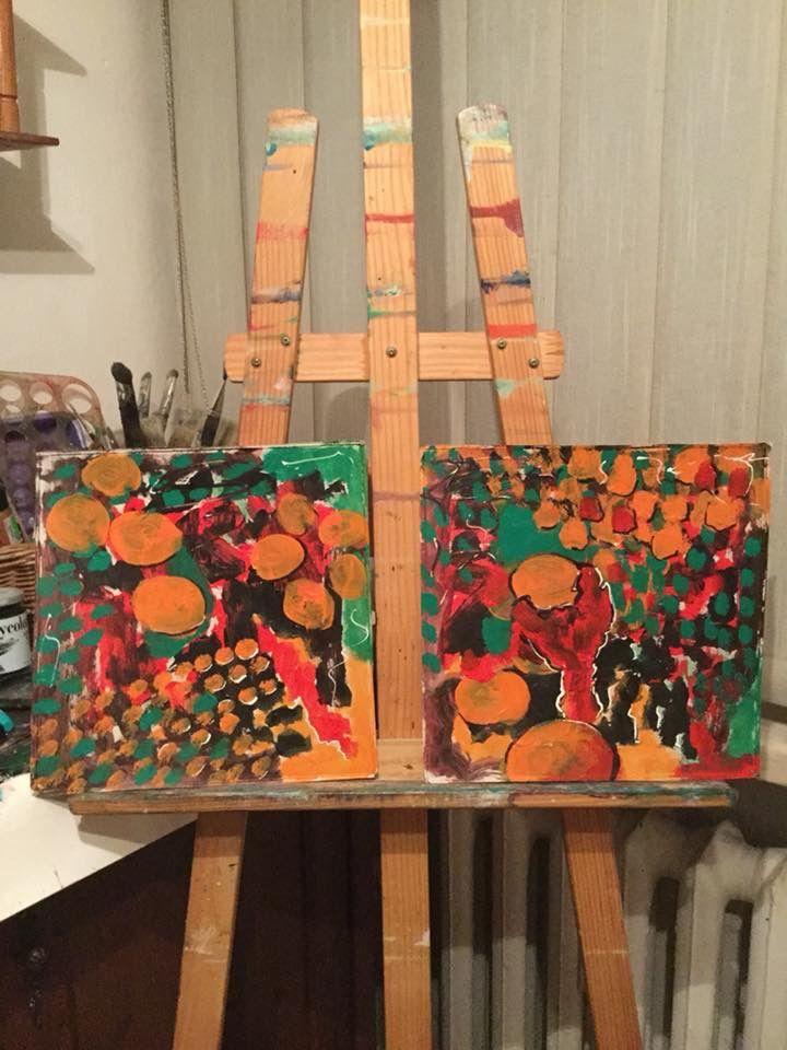 """Malarstwo Wandy Murat....  Tytuł: """" Euforia  pomarańczy """".... Nr.kat.1438/ AD 2017....... ABSTRACT podwójny......"""