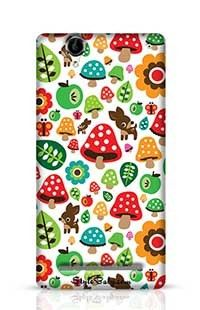 Musroom Autumn Deer And Apple Pattern Sony Xperia T2 Phone Case