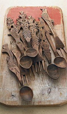 carved wood utensils