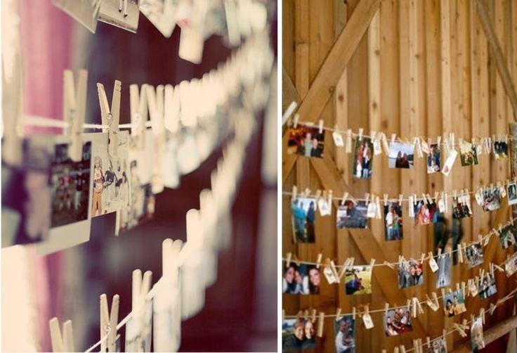 Decoración con fotos para casamientos estilo rústico.
