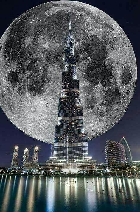 Super Moon in Dubai over Burj Khalifa.