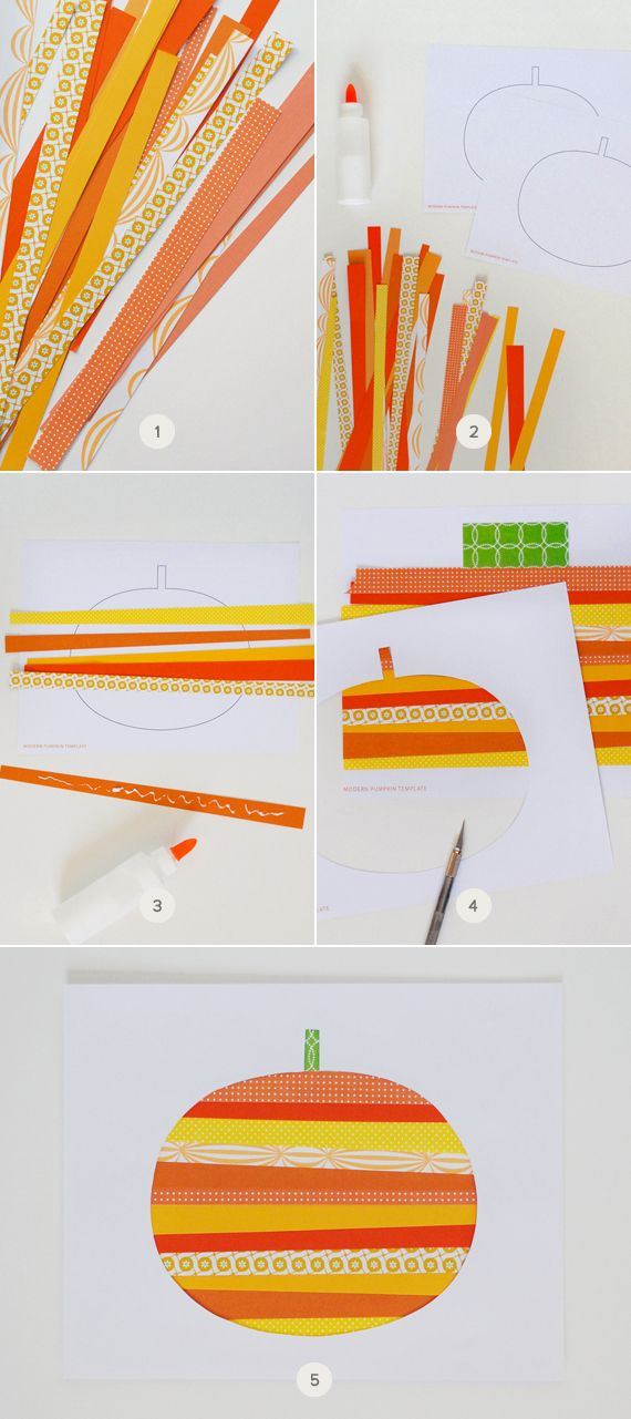 Mer Mag Paper Strip Pumpkin Art