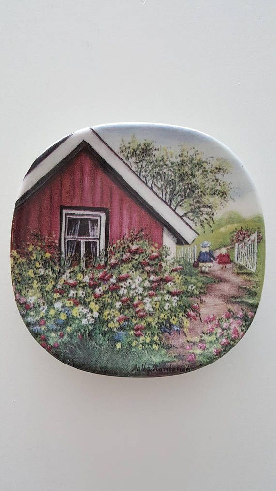 Arabia Finland Wall plate Kotiseudun kevät Old-time