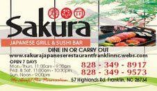 Sakura Japanese Restaurant, Franklin, NC