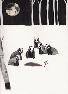 'The Badger Funeral' by Dick Vincent.  The illustration is based on British folklore that badgers bury their dead and even perform a burial ceremony.