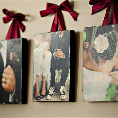 Canvas wedding pictures as wall art! <3 Photos, painted wooden boards, mod podge, ribbon. Paint wood piece that is the size of your photo. Using Mod Podge, coat the wood then lay the picture on top. Once it has dried thoroughly, use sandpaper to rough up the edges, then put a layer of Mod Podge over the picture. Affix eye hooks and use pretty ribbon as a hanger and voila!