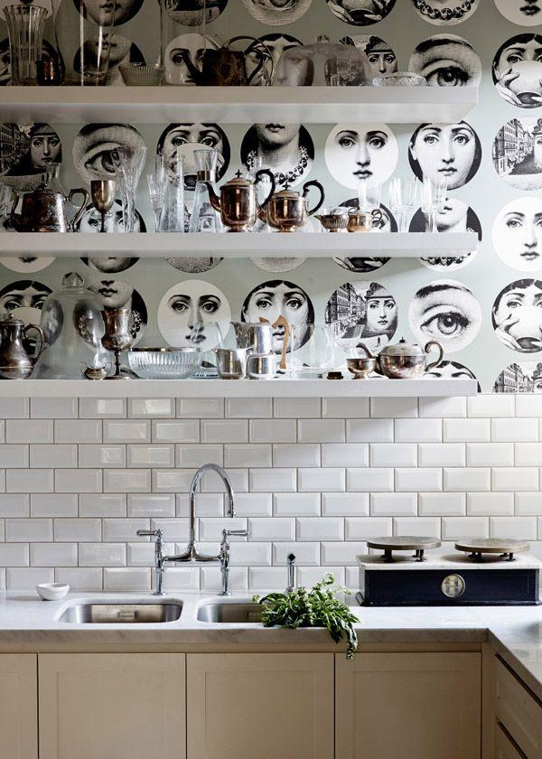 Best Cocinas Con Ilustración Piero Fornasetti Images On - Piero fornasetti wallpaper designs