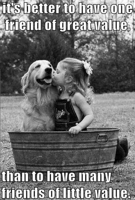 #friends: It's better to have one friend of great value, than to have many friends of little value.