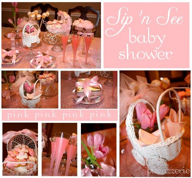 Sip 'n See party for a newborn girl