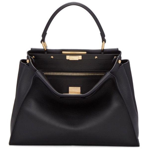 Fendi Peekaboo Medium in Black found on Polyvore featuring bags, handbags, kiss-lock handbags, lock bag, fendi handbags, locking purse and structured handbags