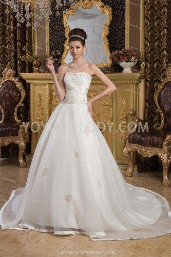 Satin Sweetheart Court Train A-Line Wedding Dress WD0301137