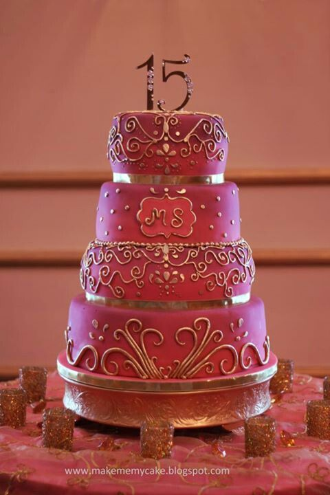 Sweet 15 quinceanera Cake - so pretty! #cakes Quinceanera Party For more party ideas visit: www.fireblossomcandle.com