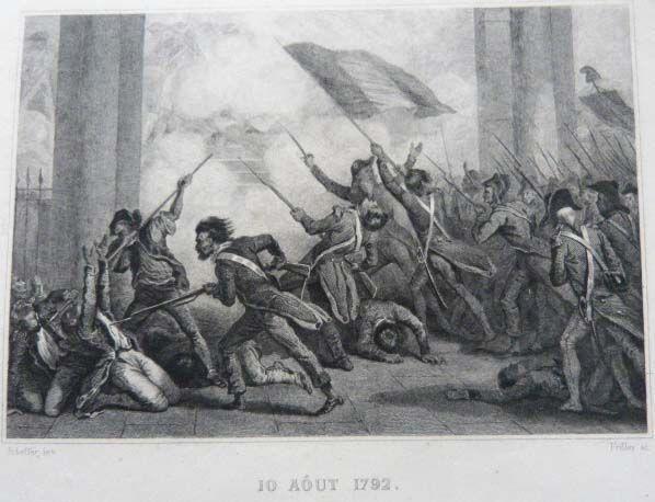 Gravure Réalisée Sur Acier Par Frilley Originale D'après Scheffer. 10 Aout 1792, Histoire De France de Anquetil Norvins