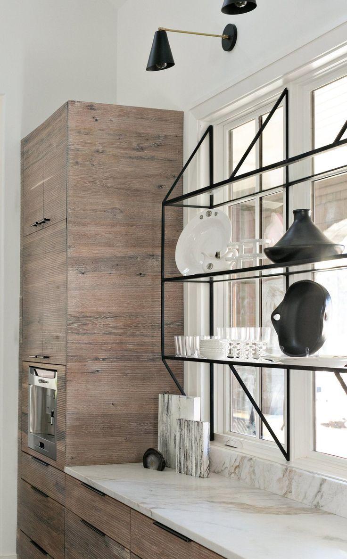 Modern Kitchen With Sleek Cabinets And Open Black Metal Shelving Organizedkitch Black Cabine Glass Shelves Kitchen Modern Luxury Interior Modern Kitchen