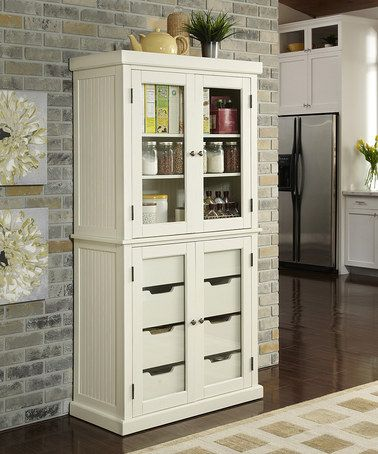 Best Loving This Distressed White Nantucket China Pantry On 400 x 300