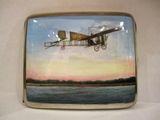 Zigaretten Etui Silber Emaille um 1909 mit Flugzeug, Blériot, collectable rare enamelled silver cigaret case aeroplane monoplane