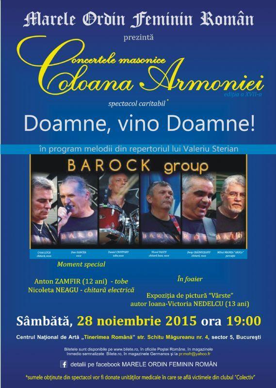 Sambata, 28 Noiembrie 2015, ora 19:00, Centrul National de Arta Tinerimea Romana, Bucuresti