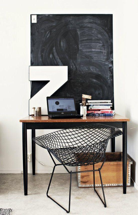desk with chalk board