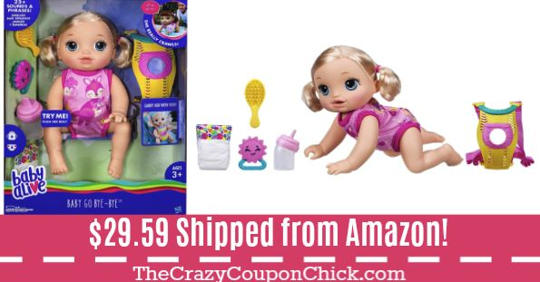 **HOT** Baby Alive Baby Go Bye Bye Doll ONLY $29.59 (Originally $50) Shipped from Amazon!