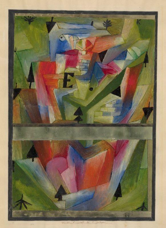 Paul Klee, Landschaft bei E. (in Bayern), Paysage près de E. (en Bavière), 1921, Huile et plume sur papier sur carton, 49,8 x 35,2 cm. Zentrum Paul Klee, Berne.