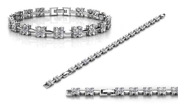 Add a shiny decorative feature to everyday outfits with these bracelets adorned with Crystals from Swarovski® and plated with gold