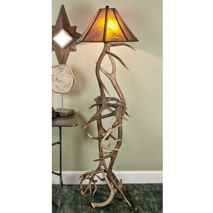Authentic Deer And Elk Antler Floor Lamp Large Scaled For Open Spaces, This  Elk And