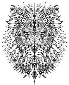 Free coloring page «coloriage-adulte-difficile-tete-lion».