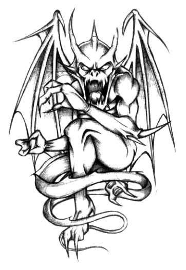 Black-and-white screaming gargoyle tattoo design | art ...