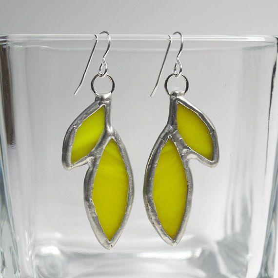 Lemon Drops - Sterling Silver Stained Glass Earrings by faerieglass