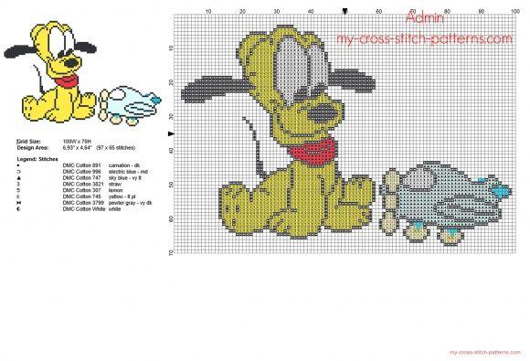 Disney Baby Pluto con aeroplanino giocattolo schema punto croce