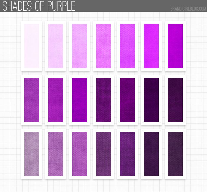 All shades of purple and names my web value for Shades of all colors