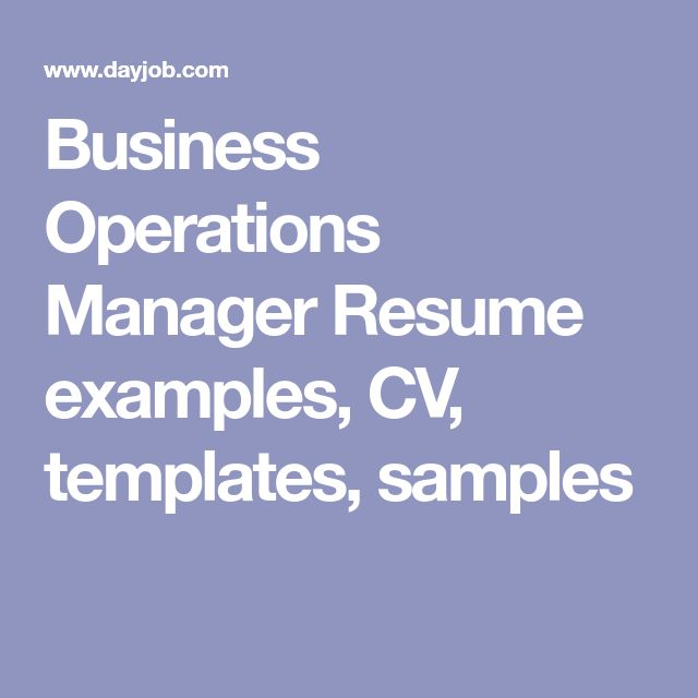 Business Operations Manager Resume examples, CV, templates, samples
