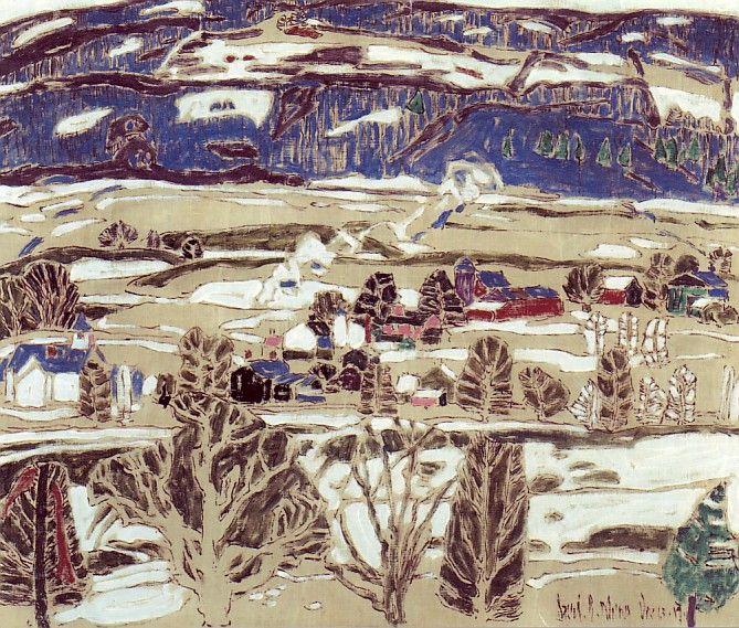 "David Milne, ""Snow Patches, Boston Corners"", oil on canvas, 1917"