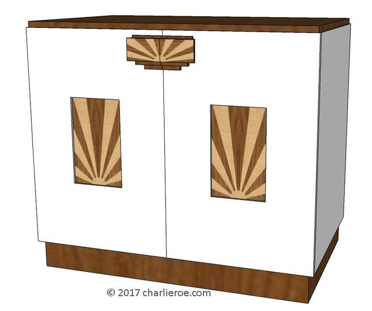 TDS- The Design Service - New Art Deco 2 door cabinet, cupboard, bar or sideboard, lacquered painted with veneered marquetry panels & handles