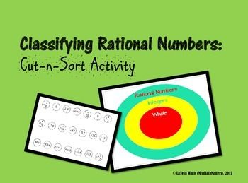 Students can work independently or with a partner to cut and sort rational numbers into its proper set.   MATH.7.2A Extend previous knowledge of sets and subsets using a visual representation to describe relationships between sets of rational numbers.